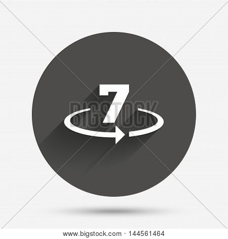 Return of goods within 7 days sign icon. Warranty exchange symbol. Circle flat button with shadow. Vector
