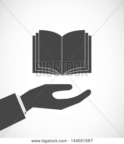 hand with book icon