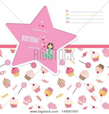 Birthday invitation card template. Seamless pattern with sweets included.