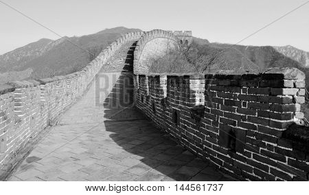 Great Wall in black and white in Beijing, China