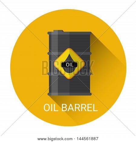 Oil Barrel Icon Colorful Flat Vector Illustration