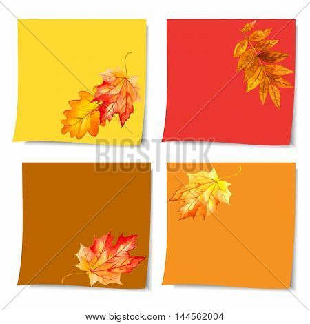 collection beautiful autumn leaves. collection of colorful post it paper note on white background