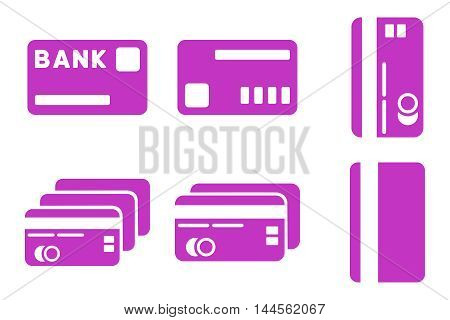 Credit Cards vector icons. Pictogram style is violet flat icons with rounded angles on a white background.