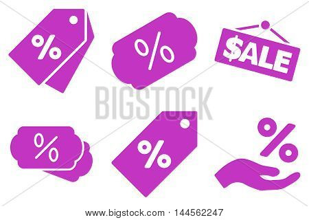 Discount Percent vector icons. Pictogram style is violet flat icons with rounded angles on a white background.