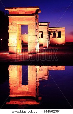 Temple of Debod at night Madrid backlit