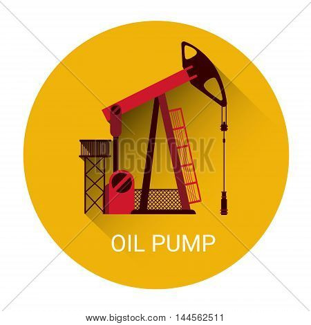 Oil Pump Icon Orange Flat Vector Illustration