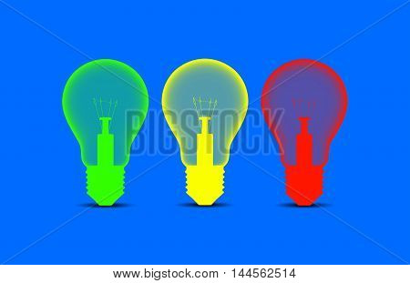 Colorful light bulbs on a blue background: illustration 2D