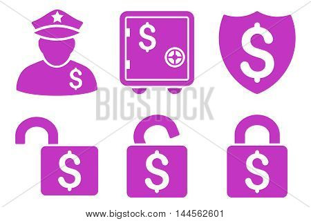 Financial Guard vector icons. Pictogram style is violet flat icons with rounded angles on a white background.