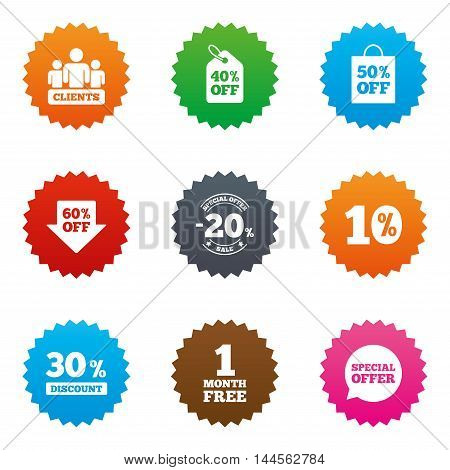 Sale discounts icon. Shopping, clients and speech bubble signs. 20, 30, 40 and 50 percent off. Special offer symbols. Stars label button with flat icons. Vector