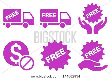 Free of Charge vector icons. Pictogram style is violet flat icons with rounded angles on a white background.