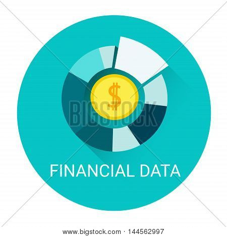 Financial Data Diagram Business Icon Flat Vector Illustration