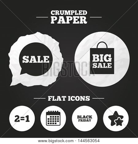 Crumpled paper speech bubble. Sale speech bubble icons. Two equals one. Black friday sign. Big sale shopping bag symbol. Paper button. Vector