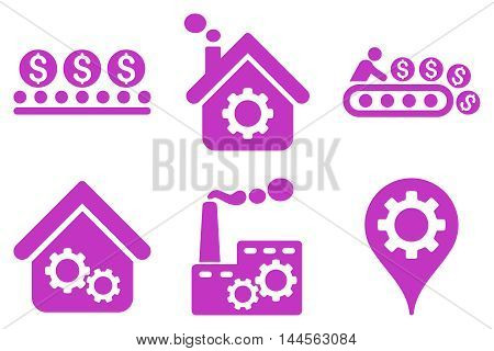 Industrial Production vector icons. Pictogram style is violet flat icons with rounded angles on a white background.