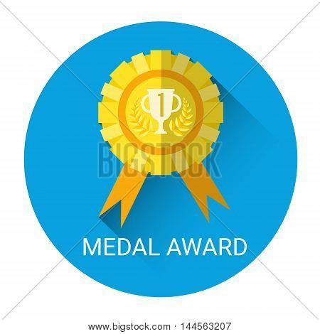 Golden Medal Award Icon Flat Vector Illustration