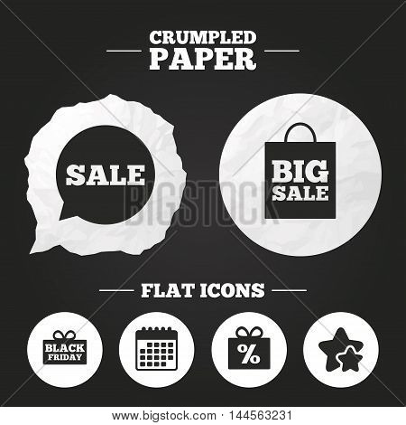 Crumpled paper speech bubble. Sale speech bubble icon. Black friday gift box symbol. Big sale shopping bag. Discount percent sign. Paper button. Vector