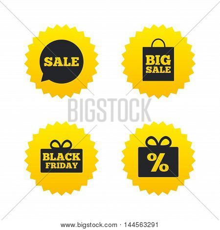 Sale speech bubble icon. Black friday gift box symbol. Big sale shopping bag. Discount percent sign. Yellow stars labels with flat icons. Vector