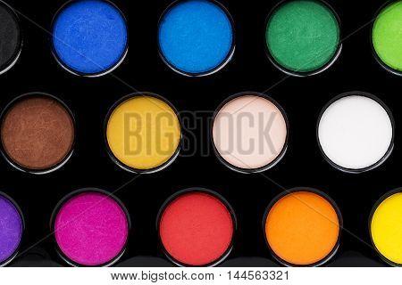 Set of watercolour aquarelle in black box close up