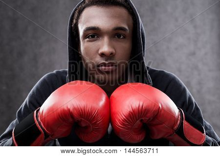 Serious African American Boxer