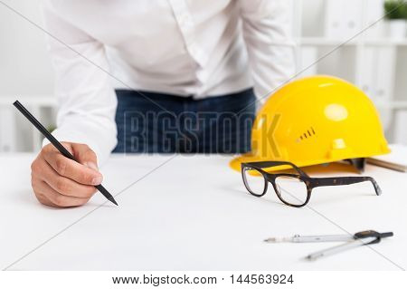 Engineer Making Blueprint