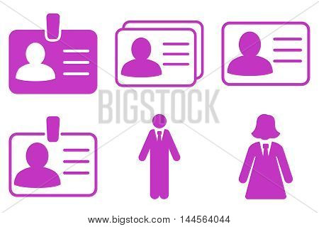 Person Account Card vector icons. Pictogram style is violet flat icons with rounded angles on a white background.