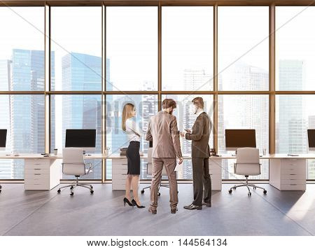 Three colleagues in Singapore city office discussing business agenda. Computers on desks panoramic windows. Concept of brainstorm. 3d rendering.