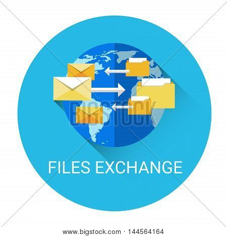 Global Files Exchange Data Share System Business Icon Flat Vector Illustration