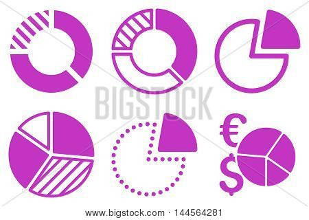Pie Chart vector icons. Pictogram style is violet flat icons with rounded angles on a white background.