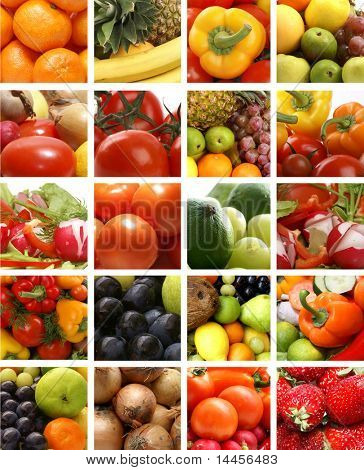 Nutrition collage of many pictures