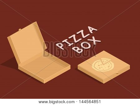 Brown carton packaging pizza box in flat style. Cardboard empty open and close pizza boxes isolated on dark background.