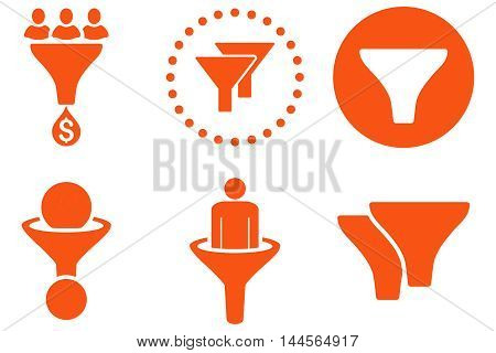 Sales Filter vector icons. Pictogram style is orange flat icons with rounded angles on a white background.