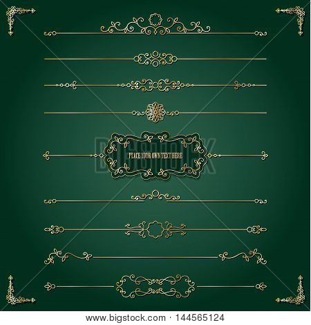 Vintage golden frame and dividers set. Luxury design.