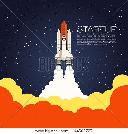 Space shuttle Launch. Spaceship and space background. Projects template for business