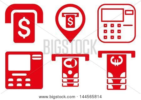 ATM Terminal vector icons. Pictogram style is red flat icons with rounded angles on a white background.