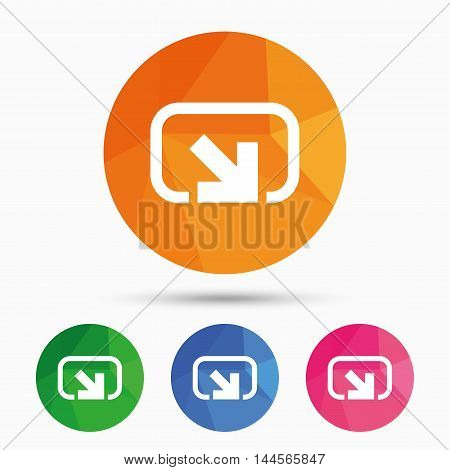 Action sign icon. Share symbol. Triangular low poly button with flat icon. Vector