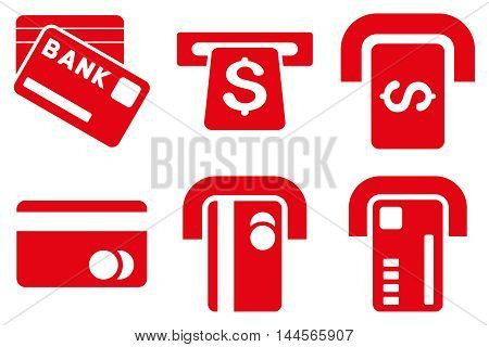 Bank ATM vector icons. Pictogram style is red flat icons with rounded angles on a white background.