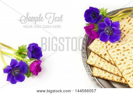Jewish holiday passover matzo on white background