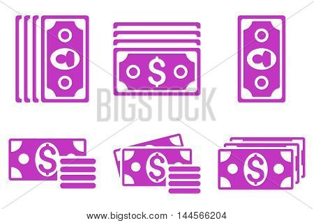 Banknotes vector icons. Pictogram style is violet flat icons with rounded angles on a white background.