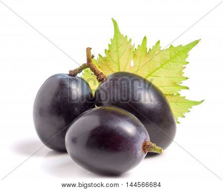 three blue grapes with leaf isolated on white background.