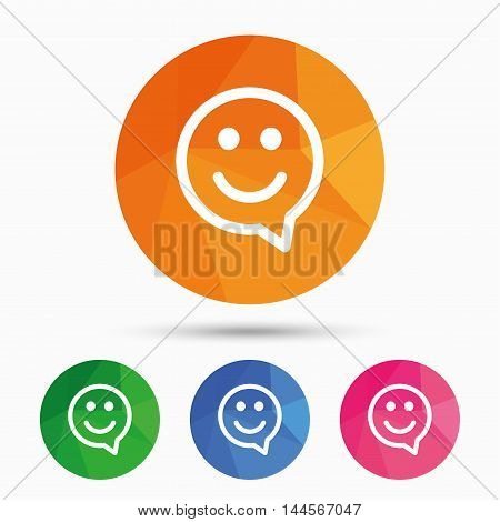 Happy face chat speech bubble symbol. Smile icon. Triangular low poly button with flat icon. Vector