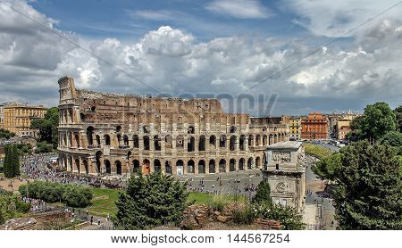 panorama of the Colosseum in Rome in summer, Italy, Europe