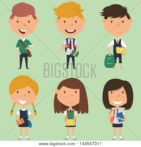 School boys and girls standing with books and backpacks. Vector collection of kids characters. Cute pupils set.