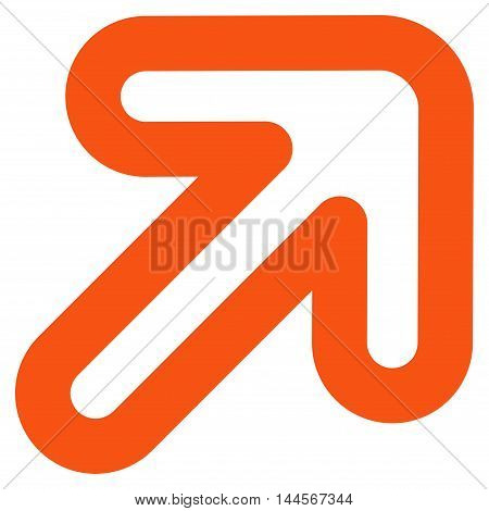 Right-Up Arrow vector icon. Style is stroke flat icon symbol, orange color, white background.