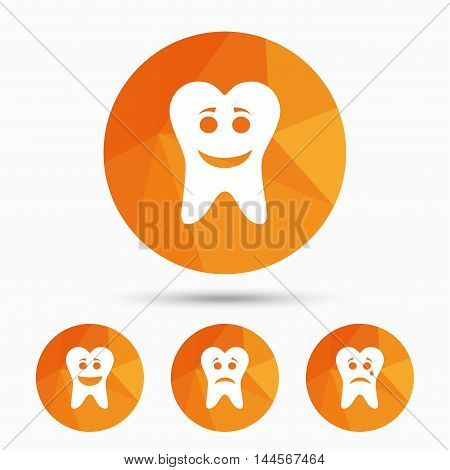 Tooth smile face icons. Happy, sad, cry signs. Happy smiley chat symbol. Sadness depression and crying signs. Triangular low poly buttons with shadow. Vector