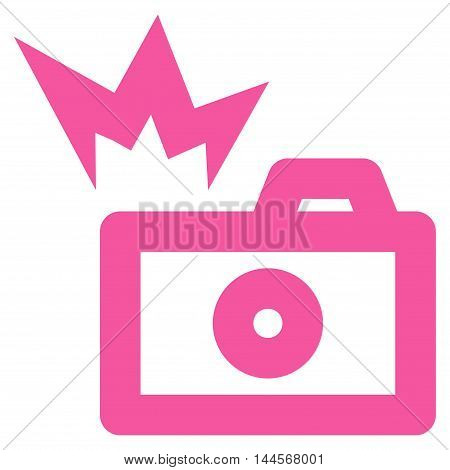 Camera Flash vector icon. Style is linear flat icon symbol, pink color, white background.