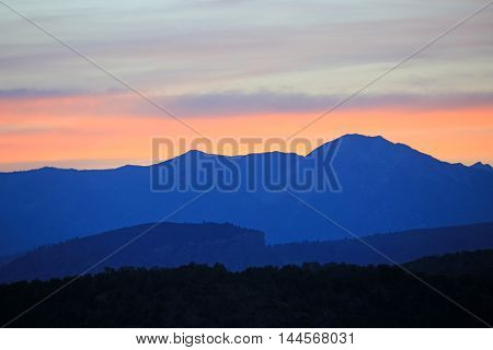 Sunset at the La Plata mountains in Durango, CO