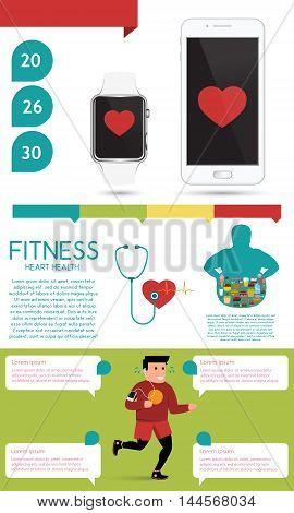 Fitness and heart health infographic. Vector illustration.