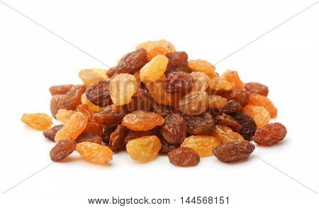 Pile of mixed raisins isolated on white