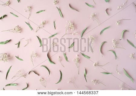 pattern with dry flowers branches leaves and petals on pink background. flat lay top view