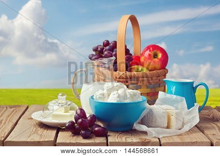 Milk cottage cheese butter and fruit basket over meadow background. Jewish holiday Shavuot celebration