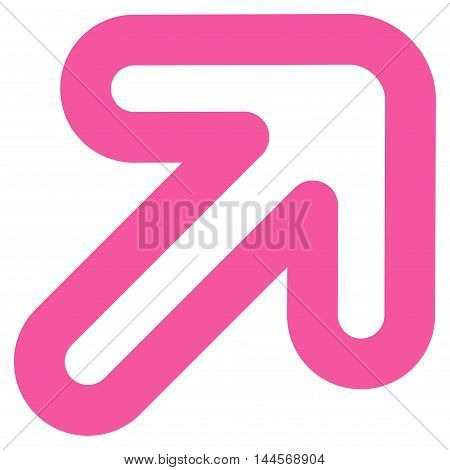 Right-Up Arrow vector icon. Style is stroke flat icon symbol, pink color, white background.